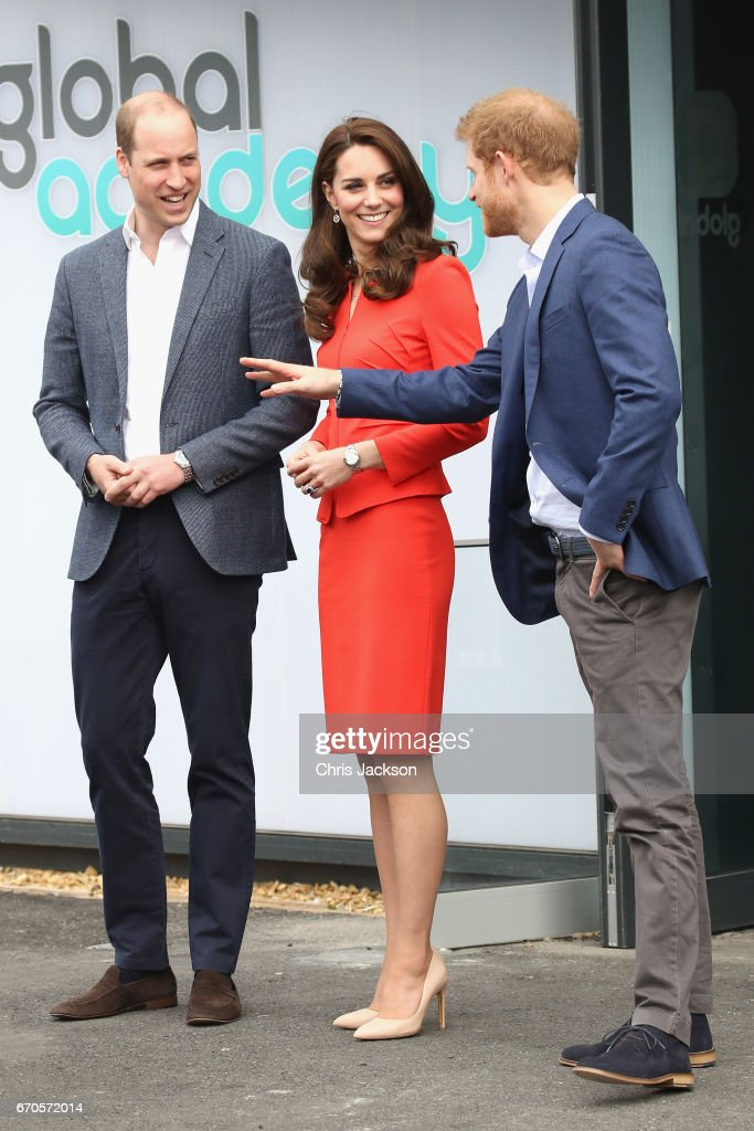 Prince William, Duke of Cambridge, Catherine, Duchess of Cambridge and Prince Harry depart after attending the official opening of The Global Academy in support of Heads Together at The Global Academy on April 20, 2017 in Hayes, England. The Global Academy is a state school founded and operated by Global, The Media & Entertainment Group and will educate students for careers in broadcast and digital media.