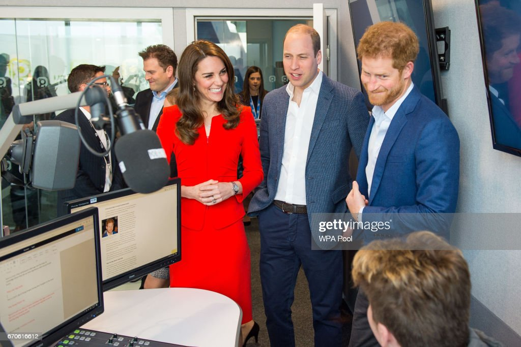 Prince William, Duke of Cambridge, Catherine, Duchess of Cambridge and Prince Harry attend the official opening of The Global Academy in support of Heads Together at The Global Academy on April 20, 2017 in Hayes, England. The Global Academy is a state school founded and operated by Global, The Media & Entertainment Group and will educate students for careers in broadcast and digital media.