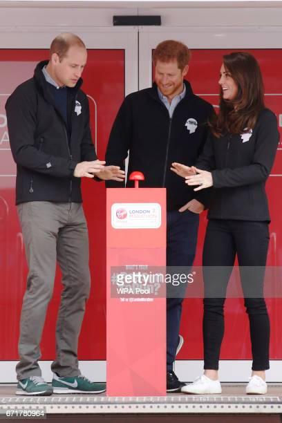 Prince William Duke of Cambridge Catherine Duchess of Cambridge and Prince Harry officially start the The Virgin Money London Marathon 2017 on April...
