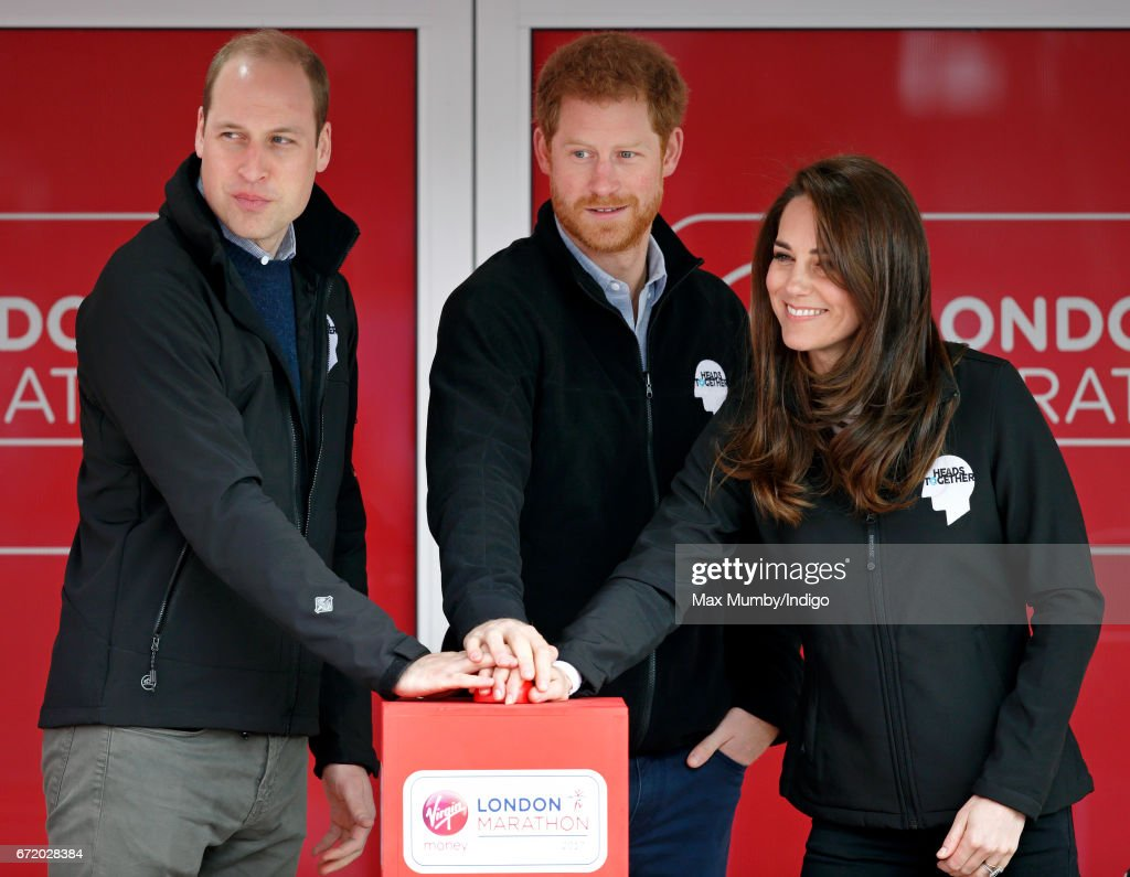 The Duke & Duchess Of Cambridge And Prince Harry Attend The Virgin Money London Marathon : News Photo