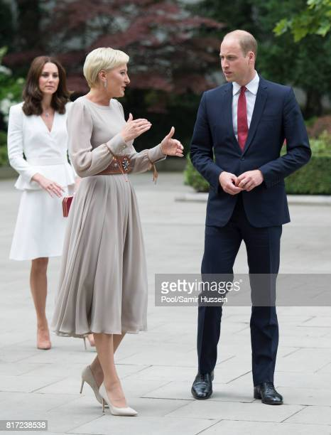 Prince William Duke of Cambridge Catherine Duchess of Cambridge and the first Lady Agata KornhauserDuda visit the Presidential Palace during an...