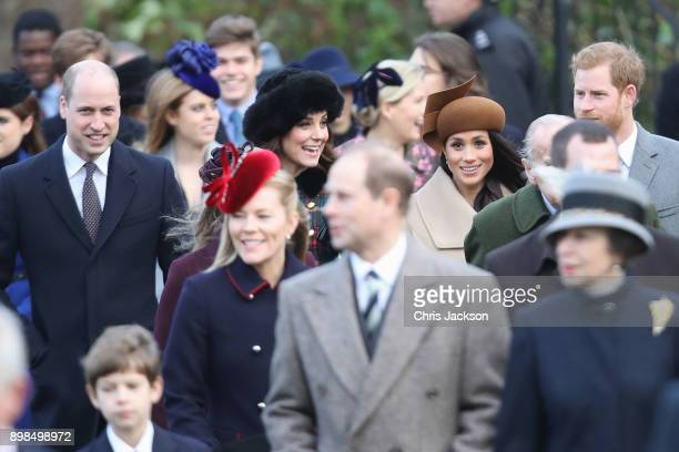 Prince William Duke of Cambridge Catherine Duchess of Cambridge Meghan Markle and Prince Harry attend Christmas Day Church service at Church of St...