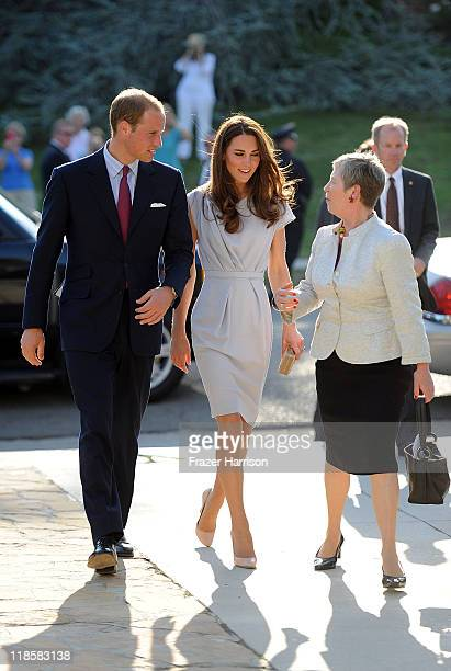 Prince William Duke of Cambridge Catherine Duchess of Cambridge are greeted by ConsulGeneral Dame Barbara Hay at a private reception held the British...