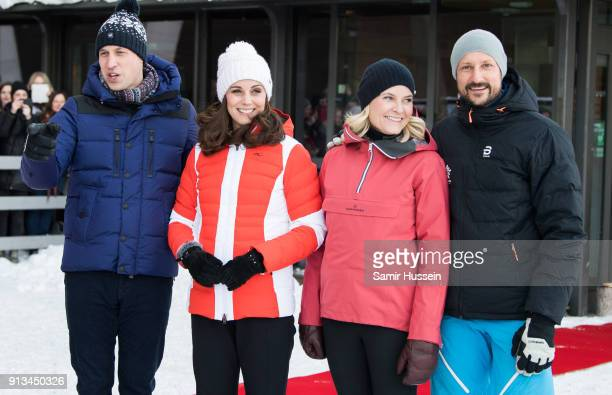 Prince William Duke of Cambridge Catherine Duchess of Cambridge Crown Princess Mette Marit of Norway and Crown Prince Haakon of Norway arrive at...