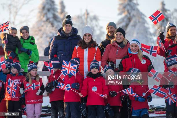 Prince William Duke of Cambridge Catherine Duchess of Cambridge Crown Princess Mette Marit of Norway and Crown Prince Haakon of Norway pose with...