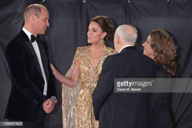 "Prince William, Duke of Cambridge,, Catherine, Duchess of Cambridge, Michael G. Wilson and Barbara Broccoli attend the World Premiere of ""No Time To..."