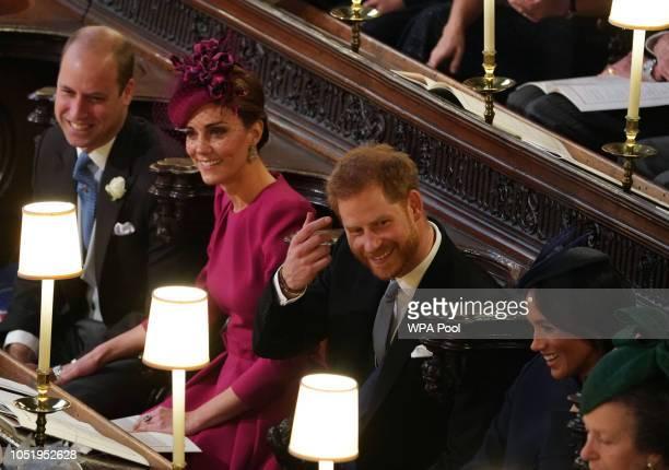 Prince William Duke of Cambridge Catherine Duchess of Cambridge Prince Harry Duke of Sussex and Meghan Duchess of Sussex attend the wedding of...