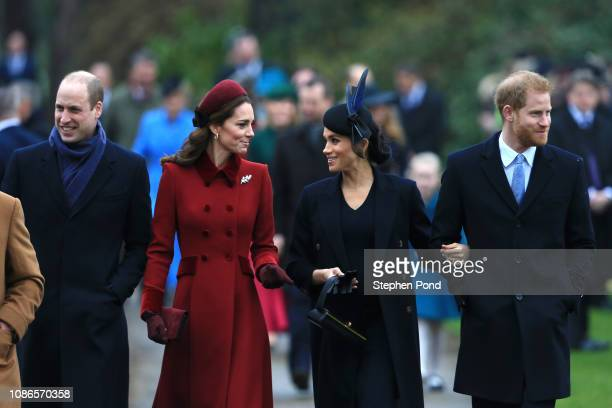 Prince William Duke of Cambridge Catherine Duchess of Cambridge Meghan Duchess of Sussex and Prince Harry Duke of Sussex arrive to attend Christmas...