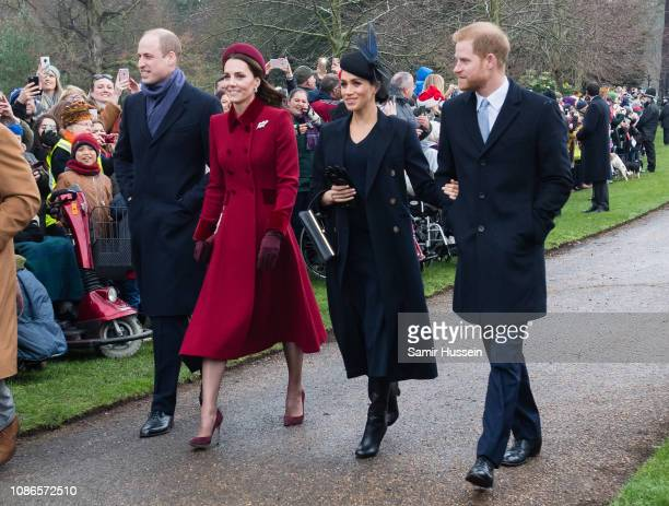 Prince William, Duke of Cambridge, Catherine, Duchess of Cambridge, Meghan, Duchess of Sussex and Prince Harry, Duke of Sussex attend Christmas Day...