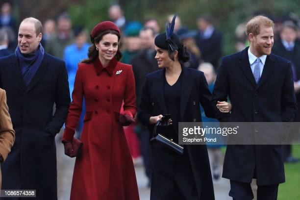 Prince William, Duke of Cambridge, Catherine, Duchess of Cambridge, Meghan, Duchess of Sussex and Prince Harry, Duke of Sussex arrive to attend...