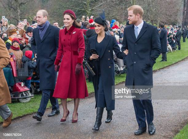 Prince William Duke of Cambridge Catherine Duchess of Cambridge Meghan Duchess of Sussex and Prince Harry Duke of Sussex attend Christmas Day Church...