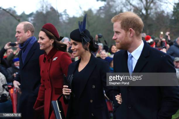 Prince William, Duke of Cambridge, Catherine, Duchess of Cambridge, Meghan, Duchess of Sussex and Prince Harry, Duke of Sussex leave after attending...