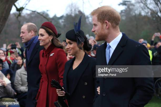 Prince William Duke of Cambridge Catherine Duchess of Cambridge Meghan Duchess of Sussex and Prince Harry Duke of Sussex leave after attending...
