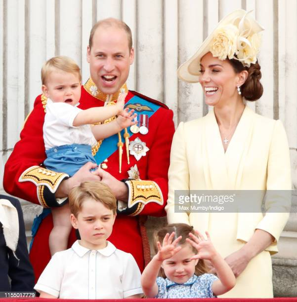 Prince William Duke of Cambridge Catherine Duchess of Cambridge Prince Louis of Cambridge Prince George of Cambridge and Princess Charlotte of...