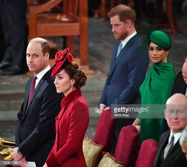 Prince William Duke of Cambridge Catherine Duchess of Cambridge Prince Harry Duke of Sussex and Meghan Duchess of Sussex attend the Commonwealth Day...