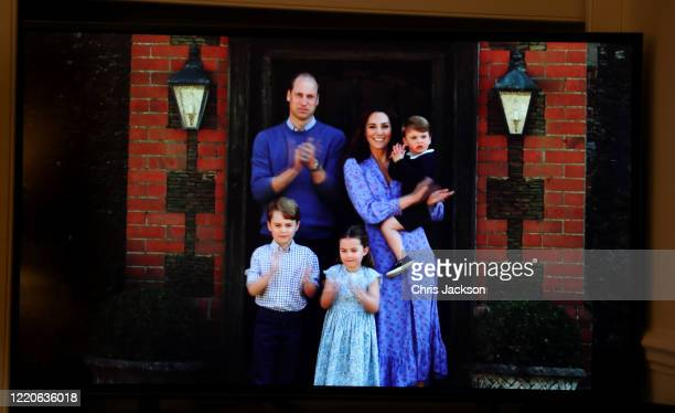 Prince William Duke of Cambridge Catherine Duchess of Cambridge Prince George of Cambridge Princess Charlotte of Cambridge and Prince Louis of...