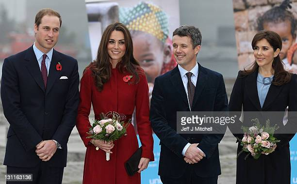 Prince William, Duke of Cambridge, Catherine, Duchess of Cambridge, Frederik, Crown Prince of Denmark and Crown Princess Mary of Denmark visit the...