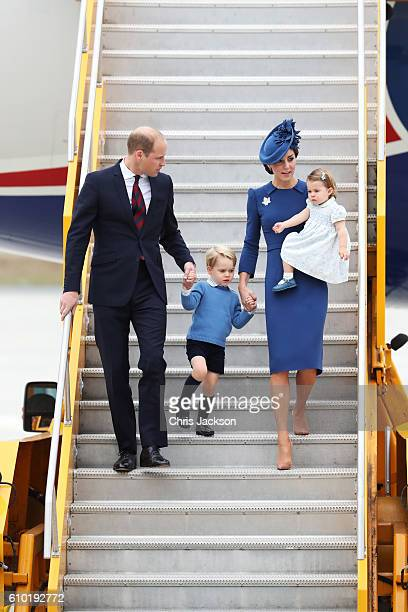 Prince William, Duke of Cambridge, Catherine, Duchess of Cambridge, Prince George of Cambridge and Princess Charlotte of Cambridge arrive at the...
