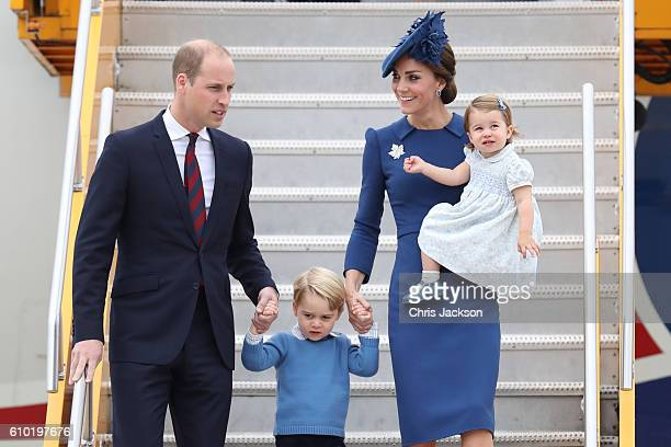 Prince William Duke of Cambridge Catherine Duchess of Cambridge Prince George of Cambridge and Princess Charlotte of Cambridge arrive at the Victoria...