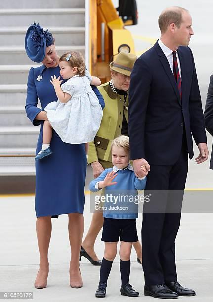 Prince William Duke of Cambridge Catherine Duchess of Cambridge Prince George of Cambridge and Princess Charlotte of Cambridge arrive at the Victoria...