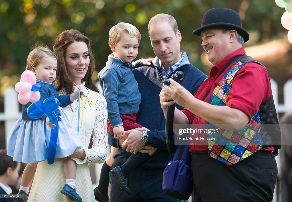 Prince William, Duke of Cambridge, Catherine, Duchess of Cambridge, Prince George of Cambridge and Princess Charlotte of Cambridge attend a children's party for Military families during the Royal Tour of Canada on September 29, 2016 in Victoria, Canada.