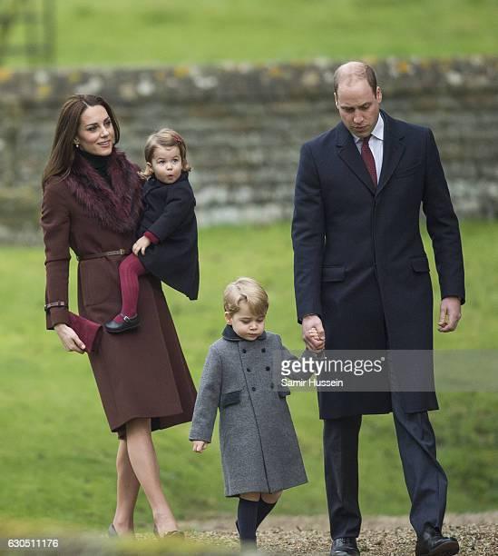Prince William Duke of Cambridge Catherine Duchess of Cambridge Prince George of Cambridge and Princess Charlotte of Cambridge attend Church on...