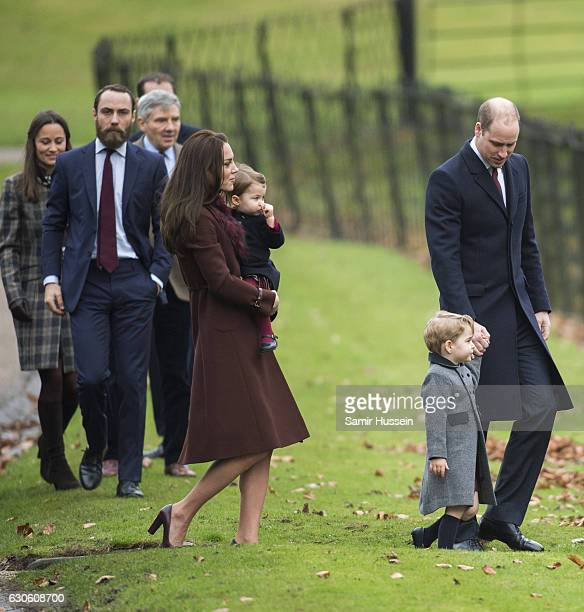 Prince William Duke of Cambridge Catherine Duchess of Cambridge Prince George of Cambridge Princess Charlotte of Cambridge Pippa Middleton and James...