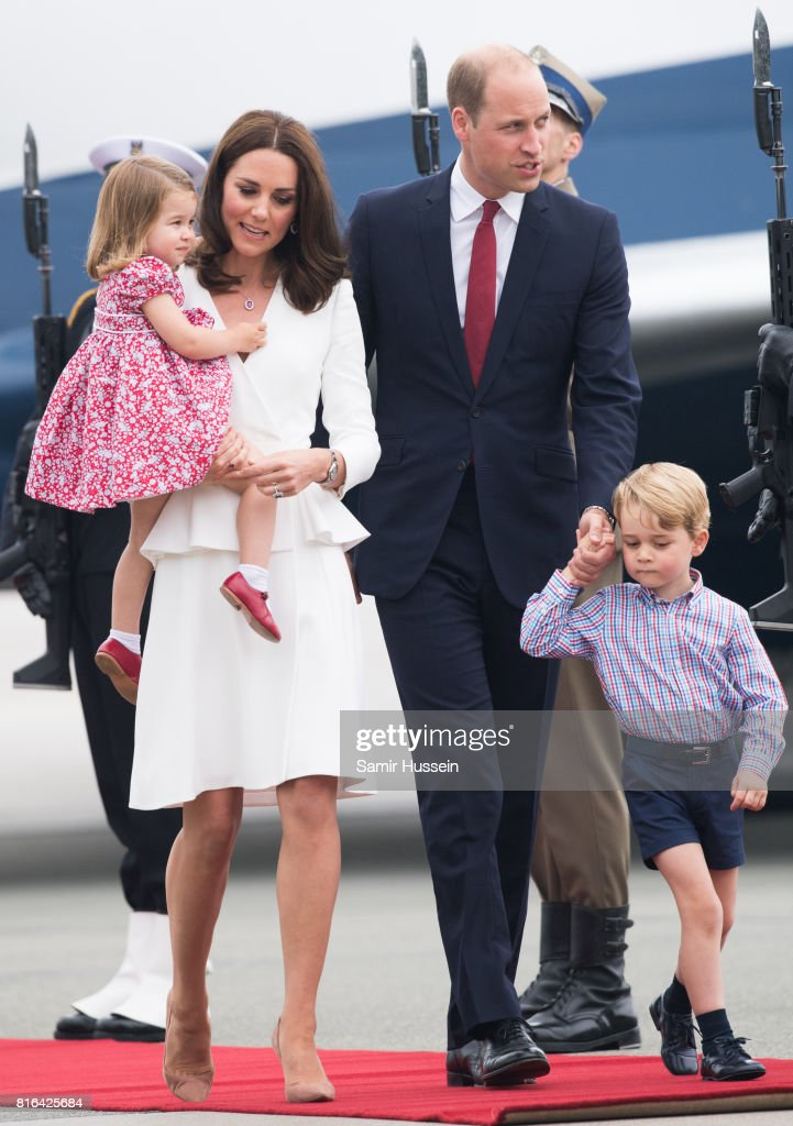 Prince William, Duke of Cambridge, Catherine, Duchess of Cambridge, Prince George of Cambridge, Princess Charlotte of Cambridge arrive at Warsaw airport during an official visit to Poland and Germany on July 17, 2017 in Warsaw, Poland.