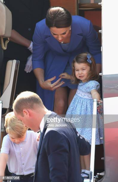 Prince William Duke of Cambridge Catherine Duchess of Cambridge Prince George of Cambridge and Princess Charlotte of Cambridge arrive at Berlin Tegel...