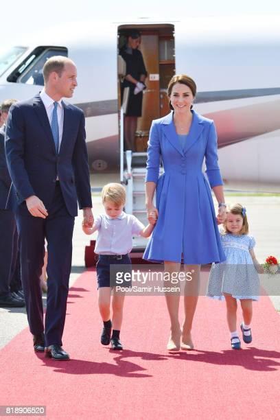 Prince William Duke of Cambridge Catherine Duchess of Cambridge Prince George of Cambridge and Princess Charlotte of Cambridge arrive at Berlin...