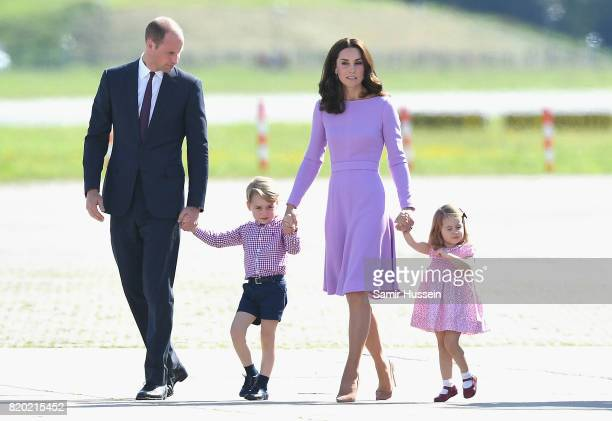 Prince William, Duke of Cambridge, Catherine, Duchess of Cambridge, Prince George of Cambridge and Princess Charlotte of Cambridge view helicopter...