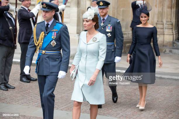 Prince William Duke of Cambridge Catherine Duchess of Cambridge Prince Harry Duke of Sussex and Meghan Duchess of Sussex wearing a dark navy Dior...