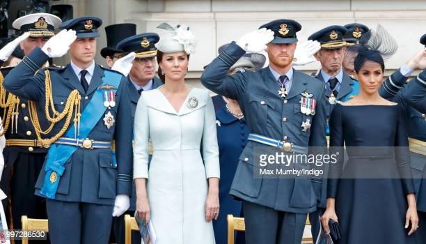 Prince William, Duke of Cambridge, Catherine, Duchess of Cambridge, Prince Harry, Duke of Sussex and Meghan, Duchess of Sussex attend a ceremony to...