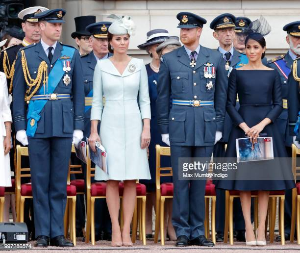 Prince William Duke of Cambridge Catherine Duchess of Cambridge Prince Harry Duke of Sussex and Meghan Duchess of Sussex attend a ceremony to mark...