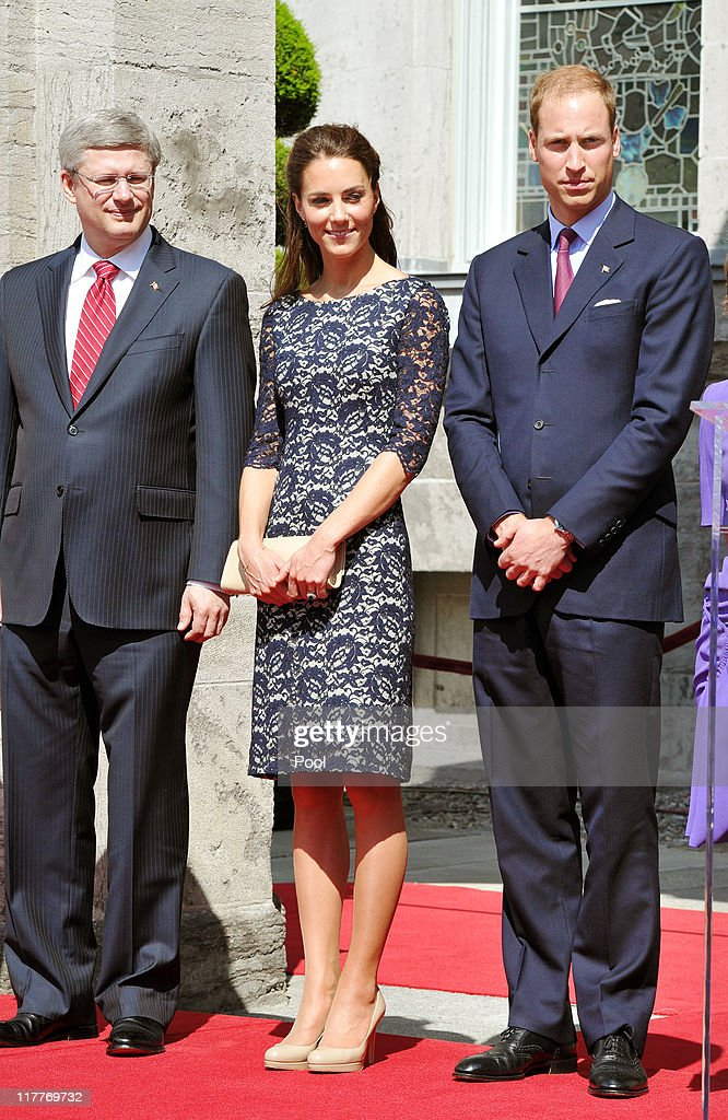 Prince William, Duke of Cambridge (R), Catherine, Duchess of Cambridge with Canadian Prime Minister Stephen Harper (L) stand outside the Rideau Hall on June 30, 2011 in Ottawa, Canada. The newly married Royal Couple have arrived in Canada today for their first joint overseas tour. Ottawa is the start of a 12-day visit to North America which will take in some of the more remote areas of the country such as Prince Edward Island, Yellowknife and Calgary. The Royal couple will also join millions of Canadians to take part in tomorrow's Canada Day celebrations which mark Canada's 144th Birthday.
