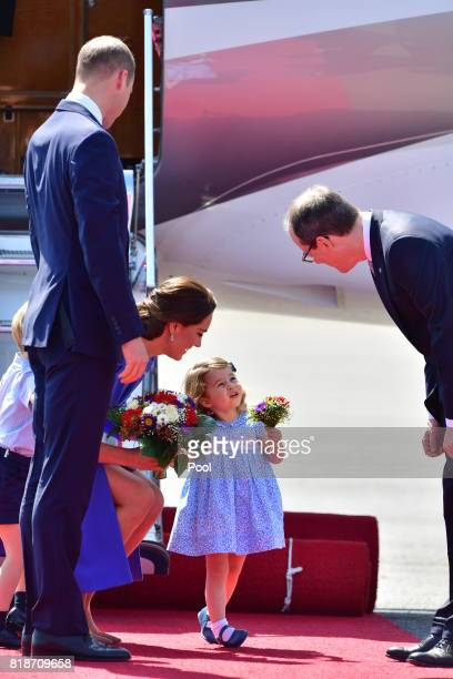 Prince William Duke of Cambridge Catherine Duchess of Cambridge with Prince George of Cambridge and Princess Charlotte of Cambridge as they arrive at...