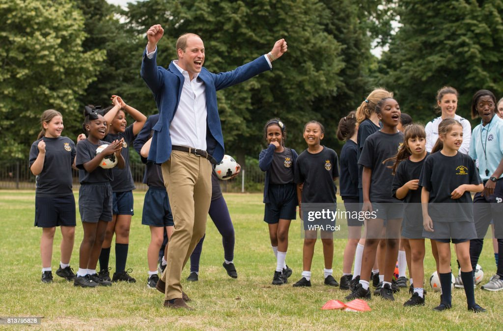 Prince William, Duke of Cambridge celebrates scoring a goal during a kick-about with the Lionesses and local girls team from the Wildcats Girl' Football programme on July 13, 2017 in London, England.