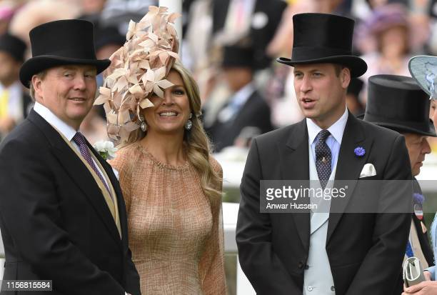 Prince William, Duke of Cambridge chats to King Willem-Alexander of the Netherlands and Queen Maxima of the Netherlands during day one of Royal Ascot...