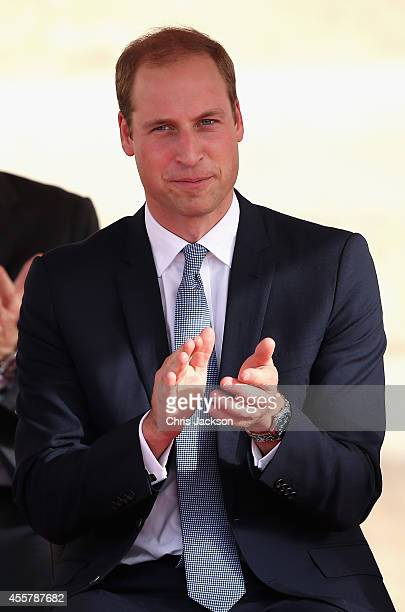 Prince William Duke of Cambridge chats to participants during an In Guardia Pageant in St George's Square during an official visit to Malta on...