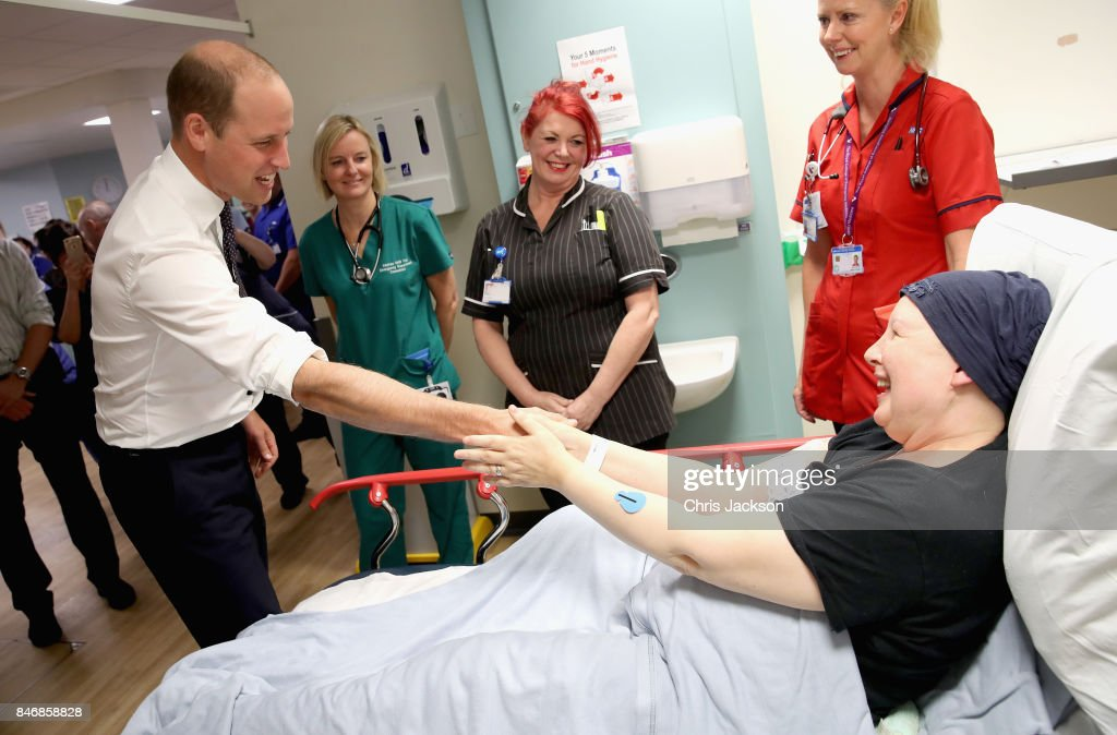 Prince William, Duke of Cambridge chats with cancer patient Pagan Tordengrav during a visit to Aintree University Hospital on September 14, 2017 in Liverpool, England. The Duke visited Aintree University Hospital to formally open the new Urgent Care and Trauma Centre (UCAT). This new unit, serving a catchment area of 2.3m residents in the North West, opened in January 2017 following a £35m redevelopment.