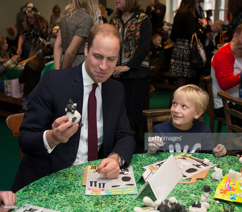 Prince William, Duke of Cambridge chats with children and representatives from charities and Aardman Animations, during a meeting of the Charities Forum at BAFTA on October 26, 2015 in London, United Kingdom.