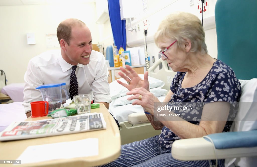 Prince William, Duke of Cambridge chats with patient Edna Dagnall in the Frailty unit during a visit to Aintree University Hospital on September 14, 2017 in Liverpool, England. The Duke visited Aintree University Hospital to formally open the new Urgent Care and Trauma Centre (UCAT). This new unit, serving a catchment area of 2.3m residents in the North West, opened in January 2017 following a £35m redevelopment.