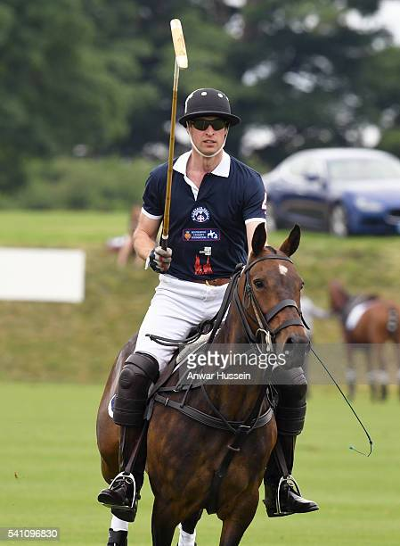 Prince William Duke of Cambridge competes in the Maserati Charity Polo match during the Gloucestershire Festival of Polo at the Beaufort Polo Club on...