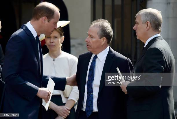 Prince William Duke of Cambridge David ArmstrongJones and Prince Andrew Duke of York speak as they leave a Service of Thanksgiving for the life and...