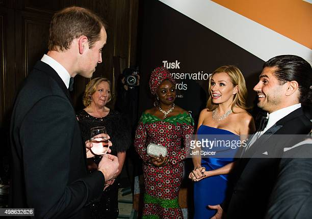 Prince William Duke of Cambridge Debra Meaden Mary Molokwu Katherine Jenkins Andrew Levitas attend the annual Tusk Trust Conservation awards at...