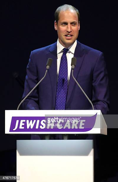 Prince William Duke of Cambridge delivers a speech as he attends the 25th anniversary celebrations of Jewish Care at Alexandra Palace on June 11 2015...