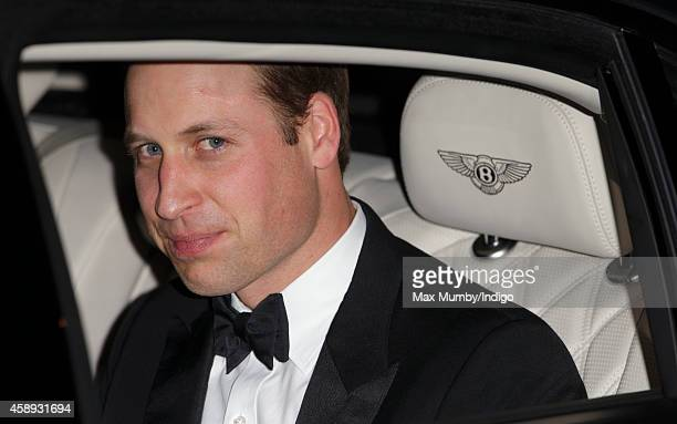 Prince William Duke of Cambridge departs in his Bentley car after attending the Royal Variety Performance at the London Palladium on November 13 2014...