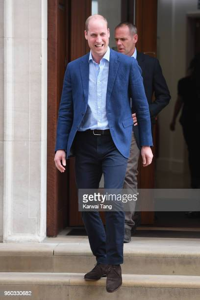 Prince William Duke of Cambridge departs the Lindo Wing after Catherine Duchess of Cambridge gave birth to their son at St Mary's Hospital on April...