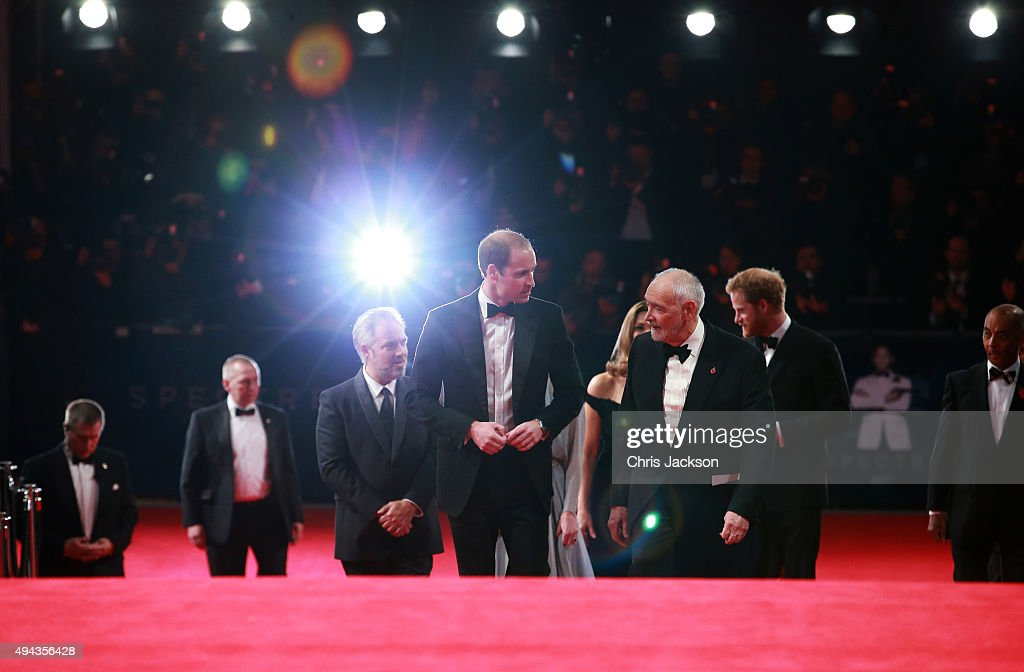Prince William, Duke of Cambridge (C), director Sam Mendes (3rdL), producer Michael G. Wilson (3rdR) and Prince Harry (2ndR) attend The Cinema and Television Benevolent Fund's Royal Film Performance 2015 of the 24th James Bond Adventure, 'Spectre' at Royal Albert Hall on October 26, 2015 in London, England.