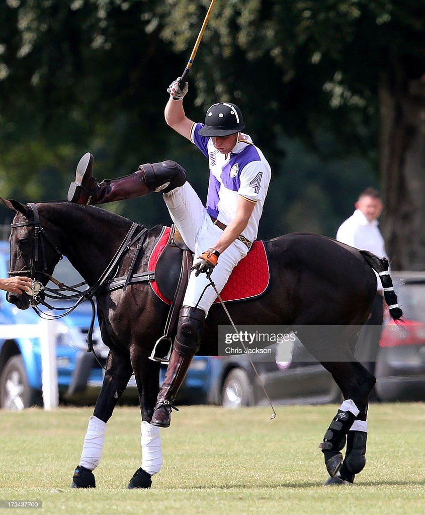 Prince William, Duke of Cambridge dismounts during the Jerudong Trophy at Cirencester Park Polo Club on July 14, 2013 in Cirencester, England.